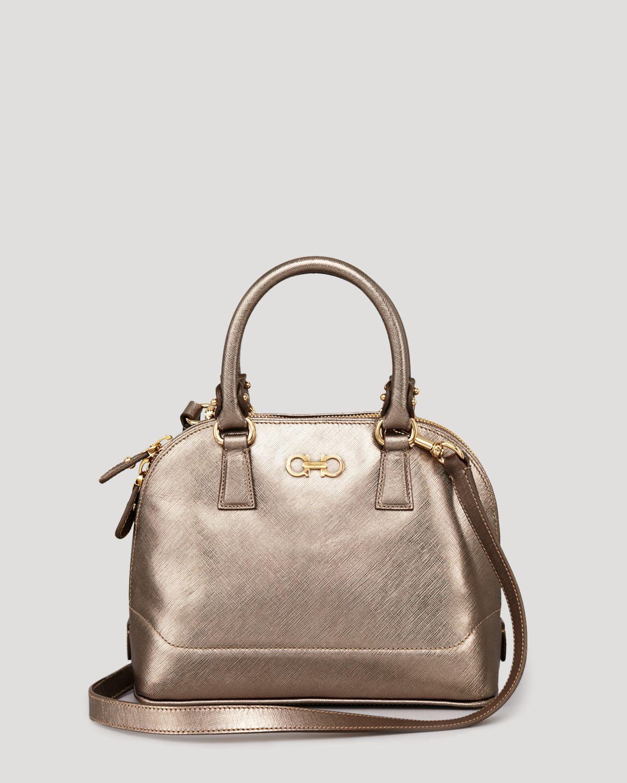 Ferragamo Mini Bag Darina Metallic Satchel in Metallic | Lyst
