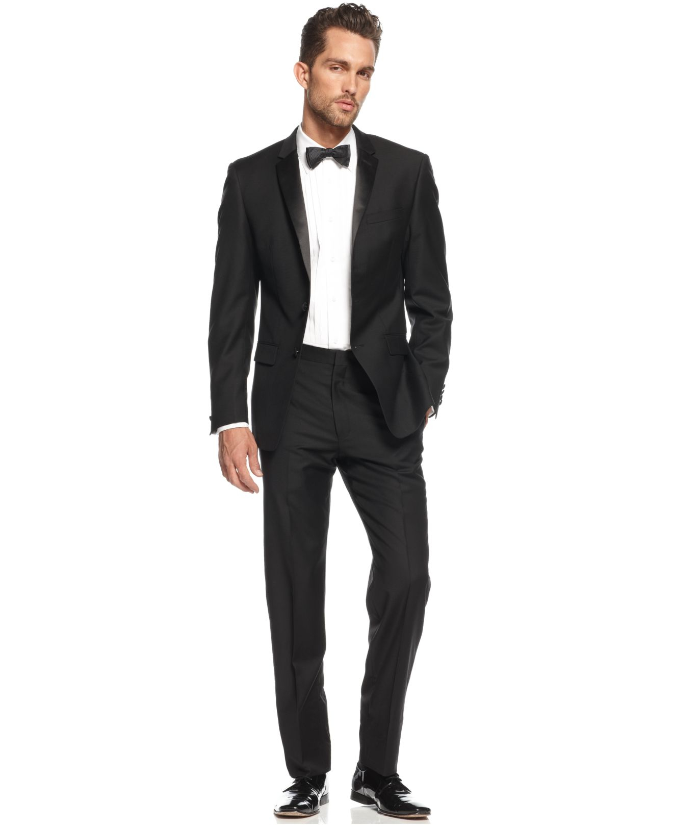 dkny extra slim fit black tuxedo in black for men lyst. Black Bedroom Furniture Sets. Home Design Ideas
