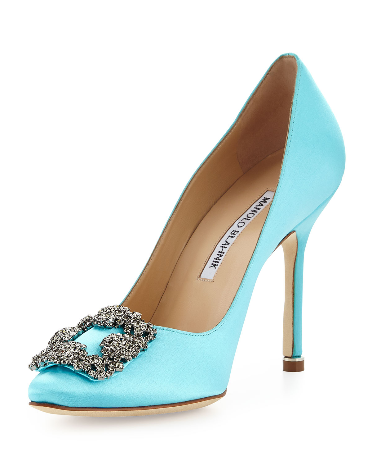 Lyst manolo blahnik hangisi satin pump in blue for Shoes by manolo blahnik