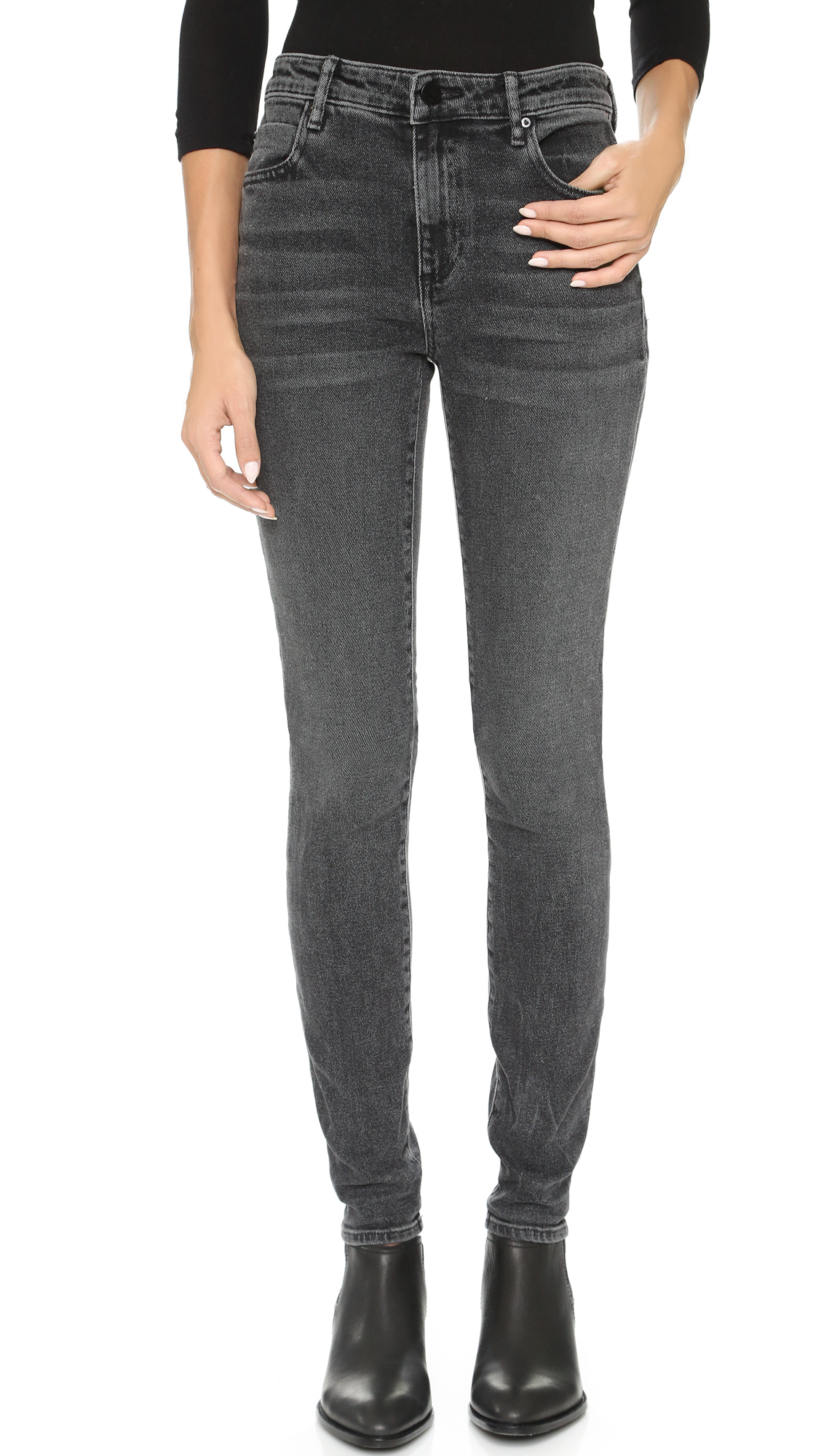 de61aff983 Alexander Wang 001 Slim Fit High Rise Jeans in Gray - Lyst