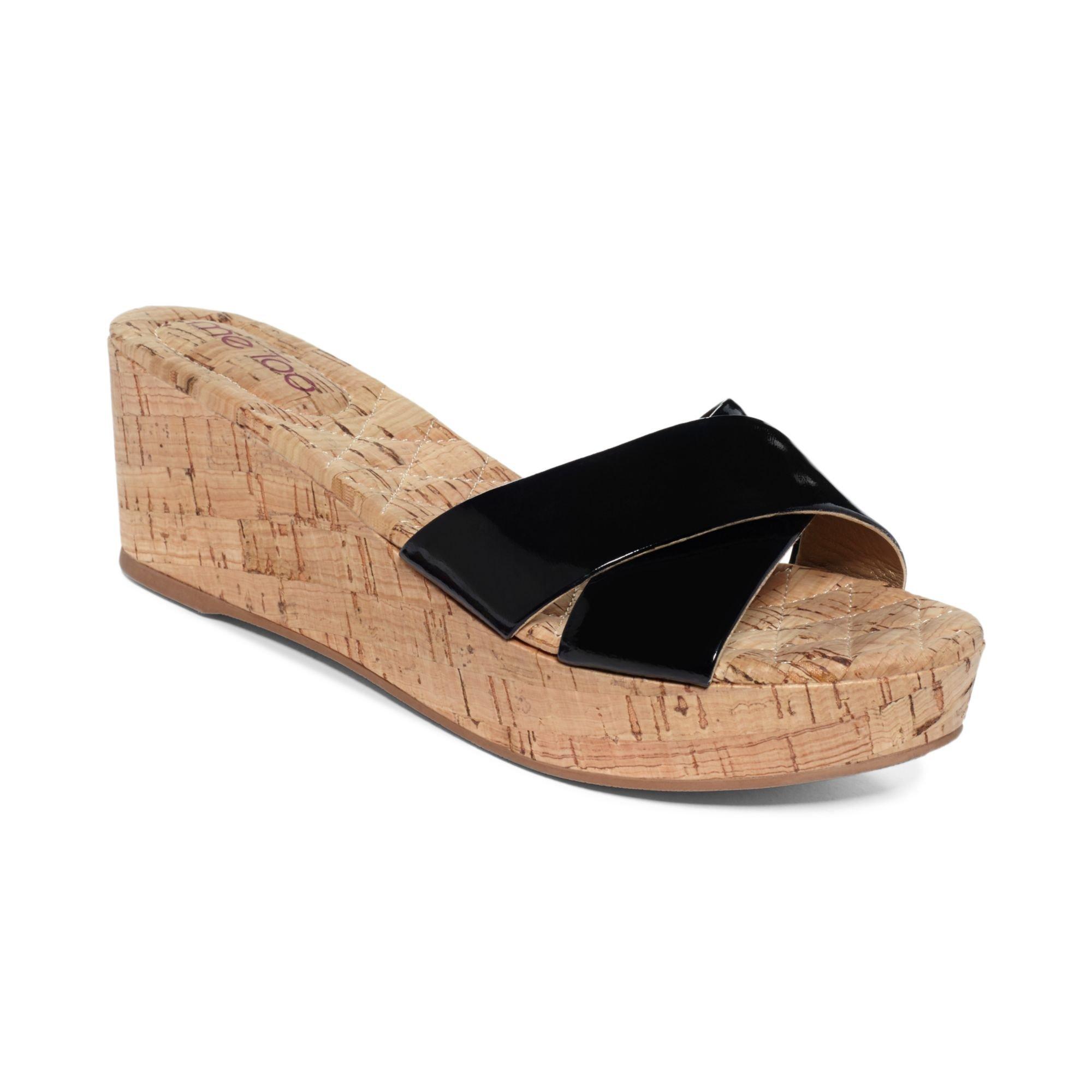 me nila platform wedge sandals in black lyst