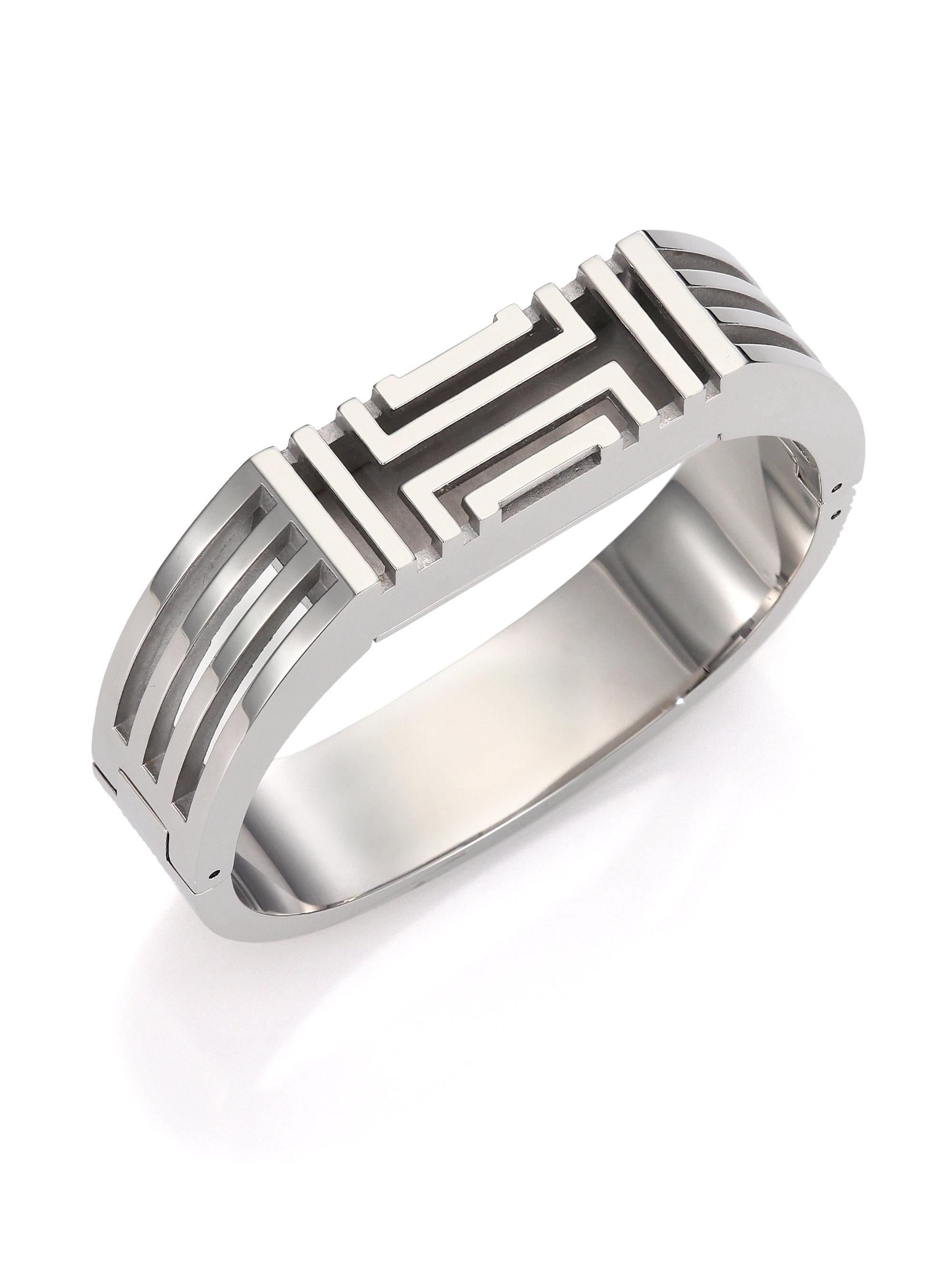 Tory Burch For Fitbit Bangle Bracelet Silvertone In
