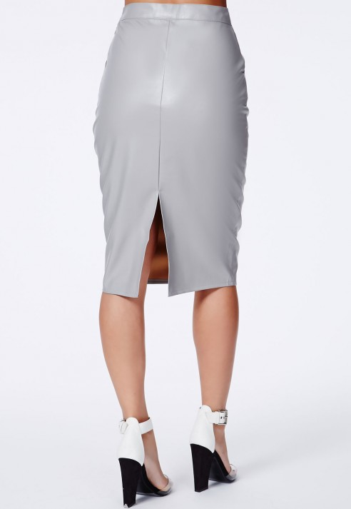 Missguided Mariota Grey Faux Leather Pencil Skirt in Gray | Lyst