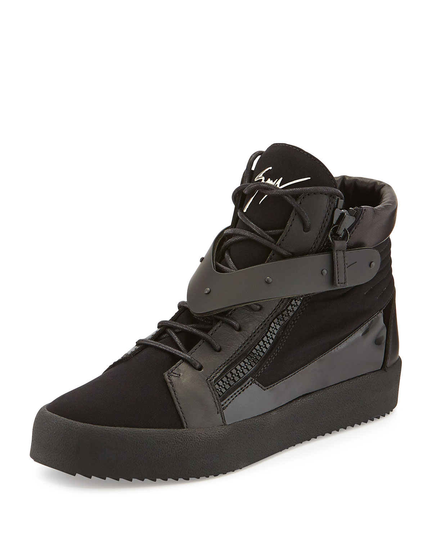 Giuseppe Zanotti Men'S Paneled High-Top Sneaker In Black