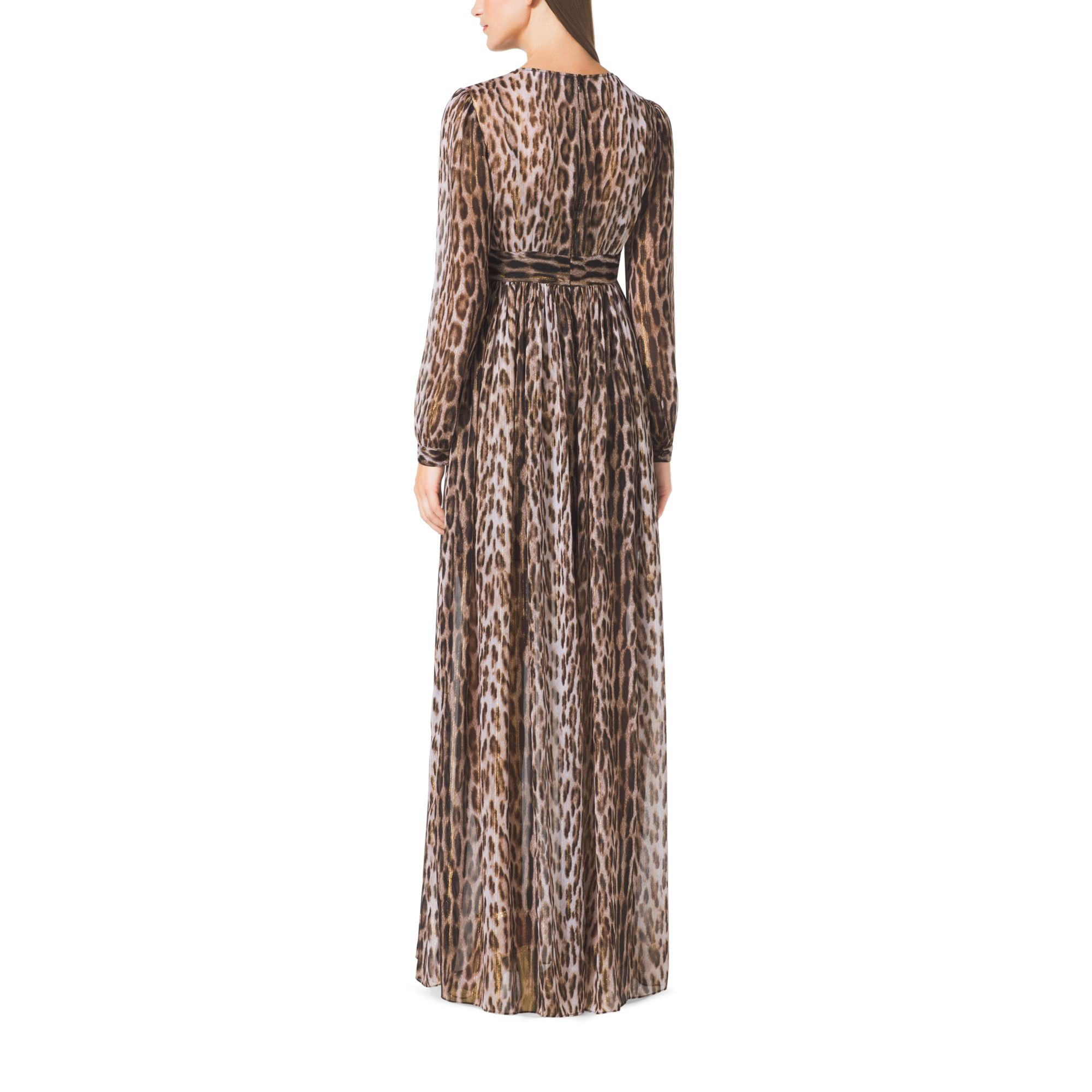 Michael kors Leopard-print Maxi Dress in Brown | Lyst