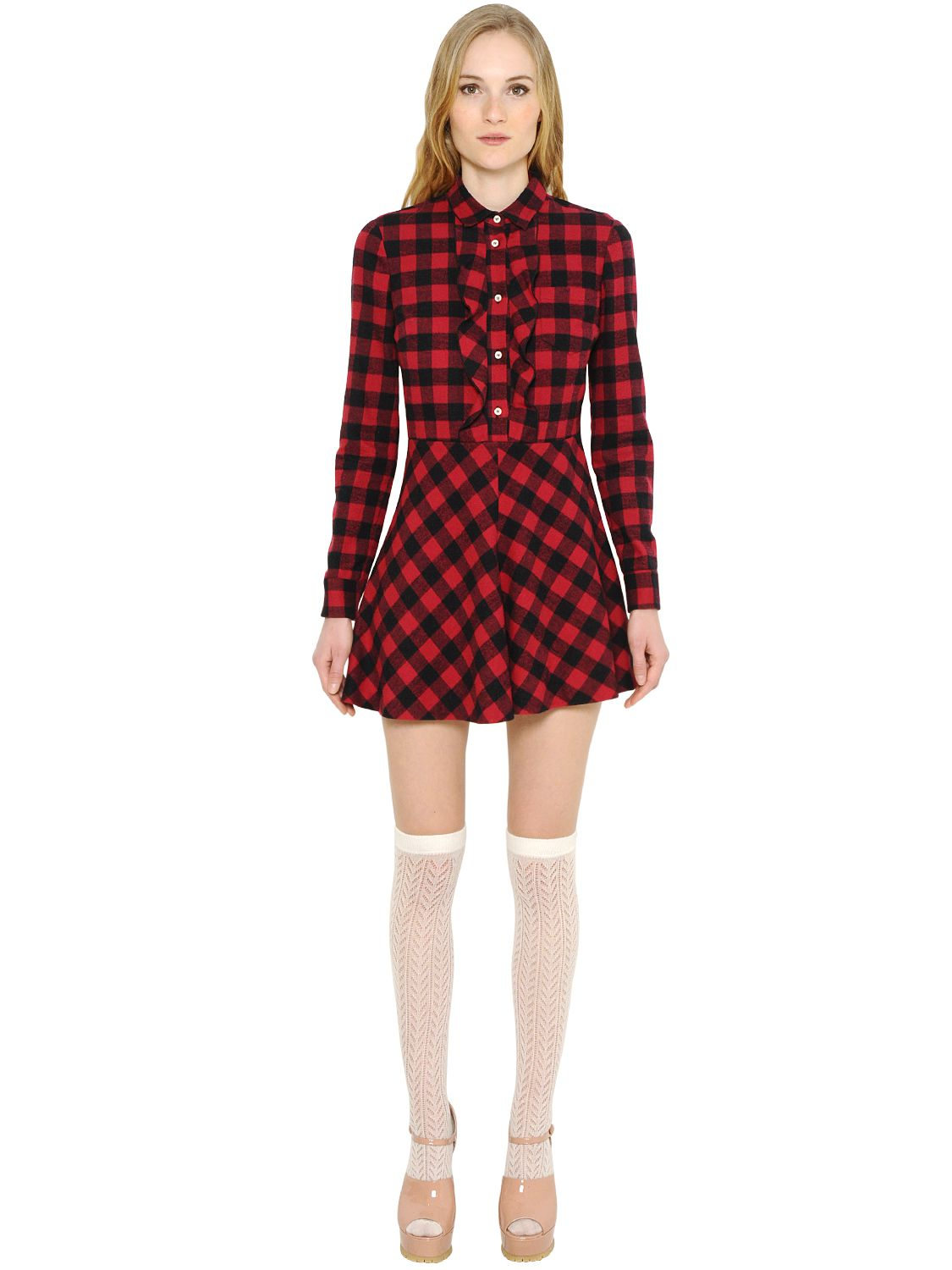 Lyst - Red Valentino Check Cotton Flannel Dress in Red