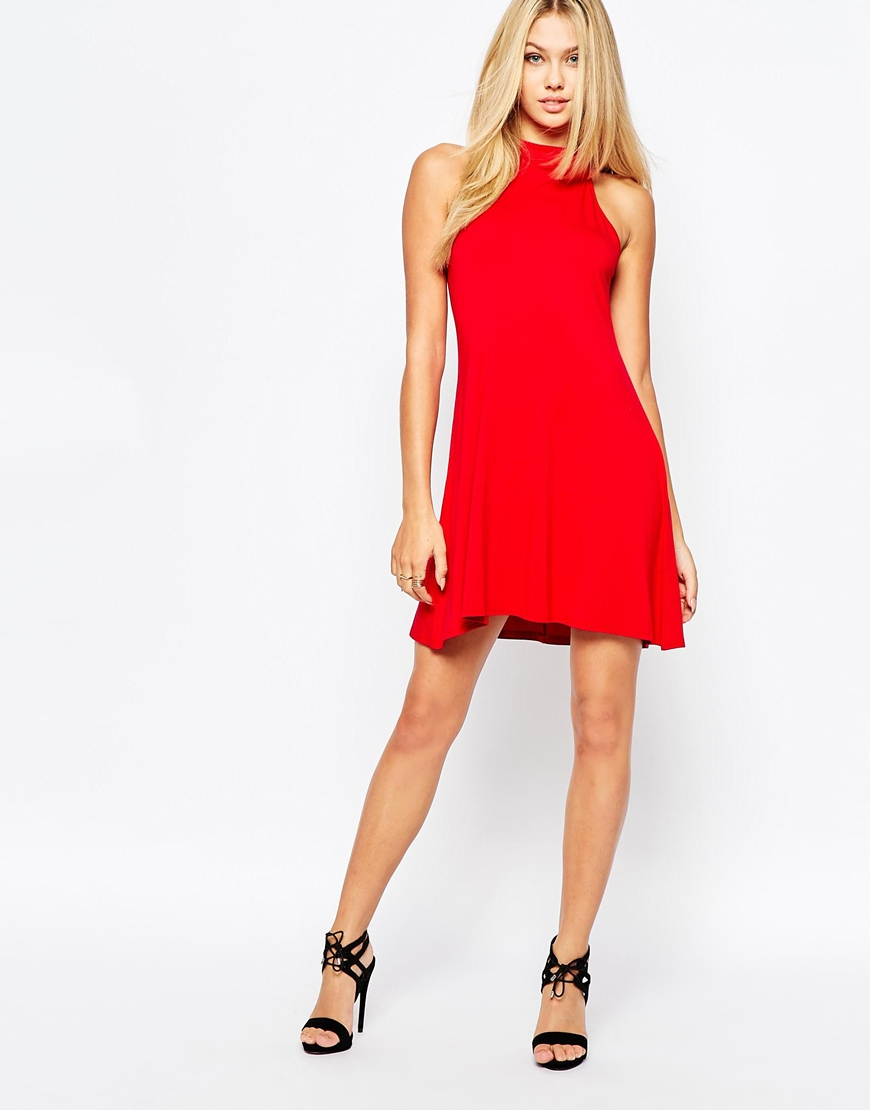817e48a8438a39 Lyst - Missguided High Neck Swing Dress in Red
