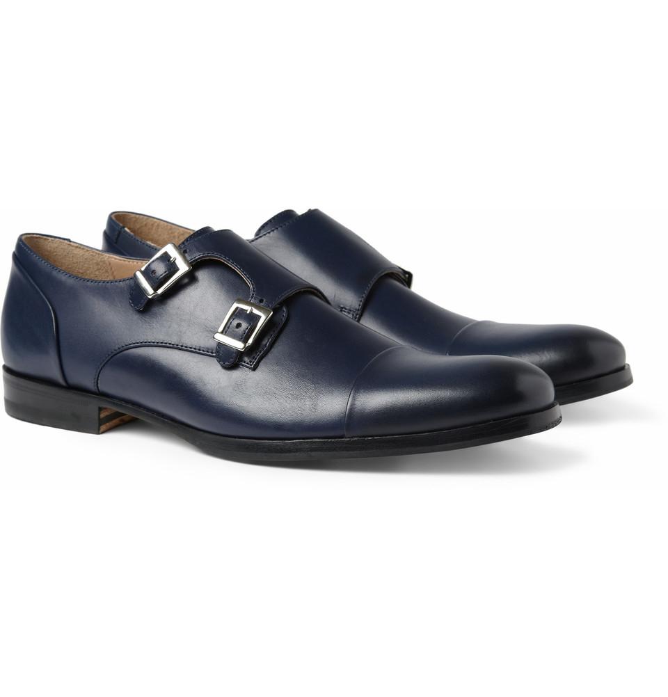 Blue Double Monk Strap Shoe