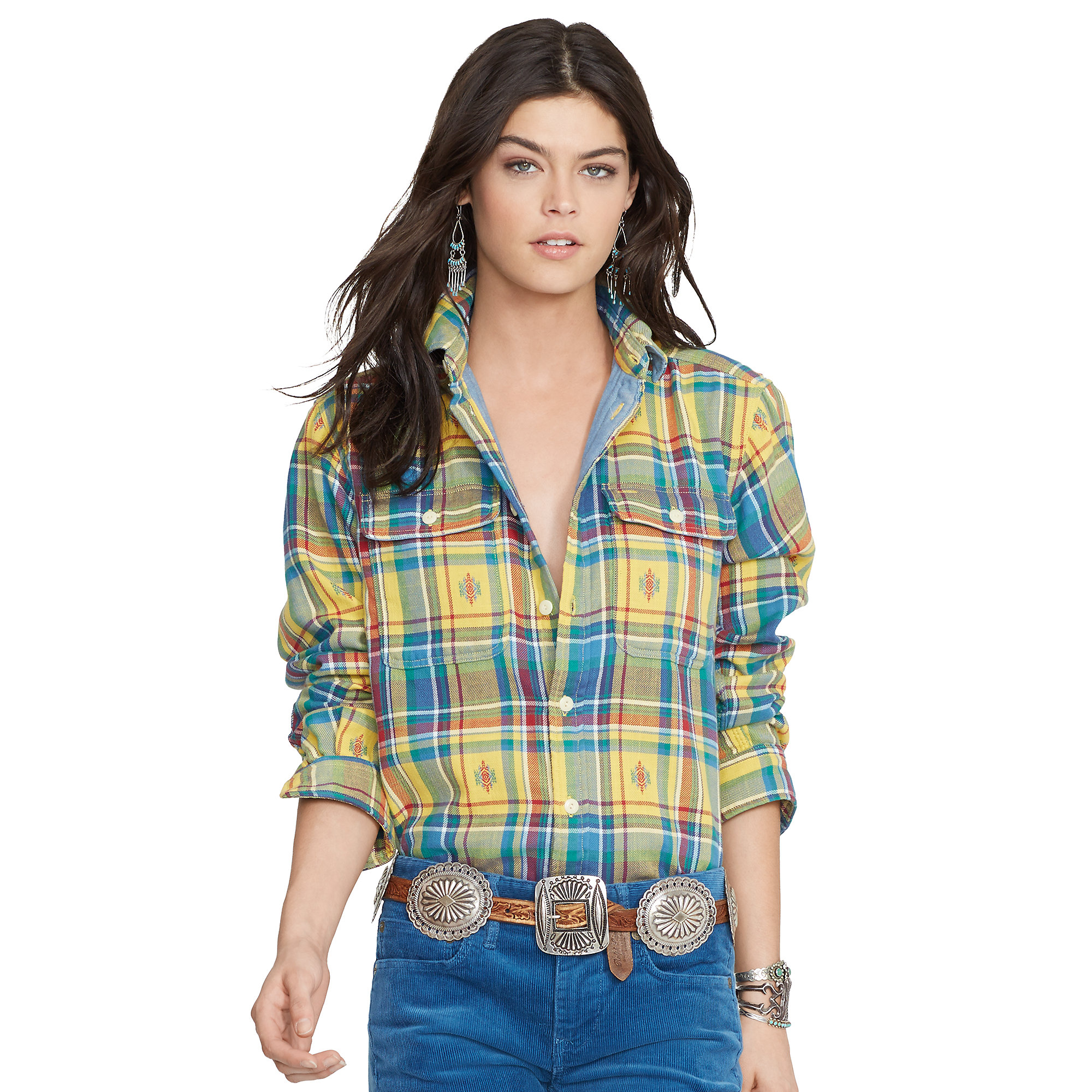 Polo ralph lauren relaxed fit plaid workshirt in blue lyst for Blue and yellow plaid dress shirt