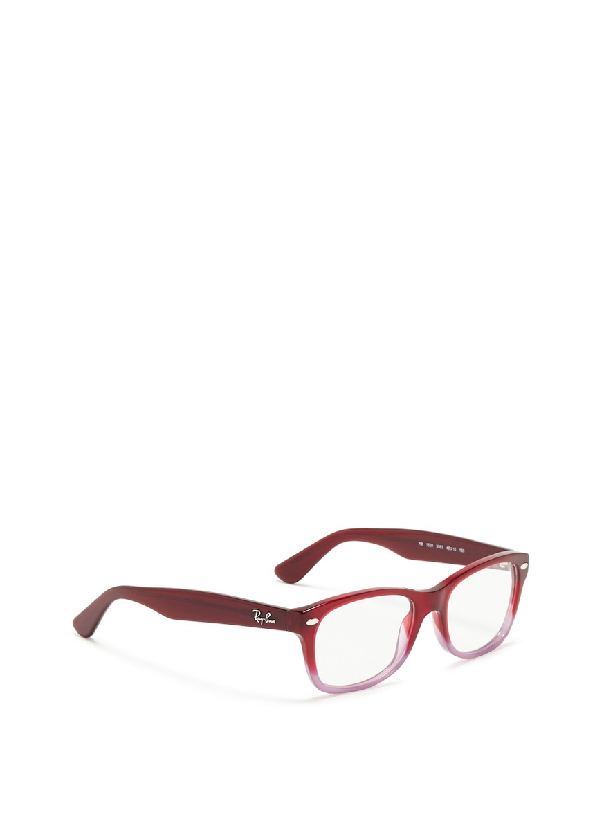 d1958db5701 Ray-Ban Junior Square Frame Ombré Acetate Optical Glasses in Red - Lyst