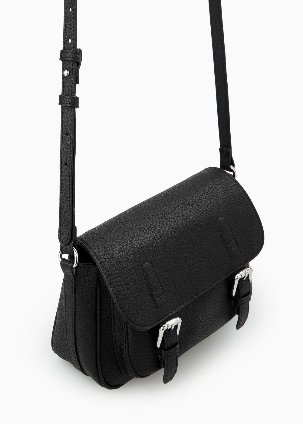 Mango Small Satchel Bag in Black | Lyst