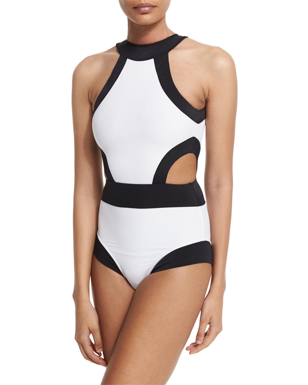 1e928dea2383d Lyst - OYE Swimwear Holly High-neck Cutout One-piece Swimsuit in Black