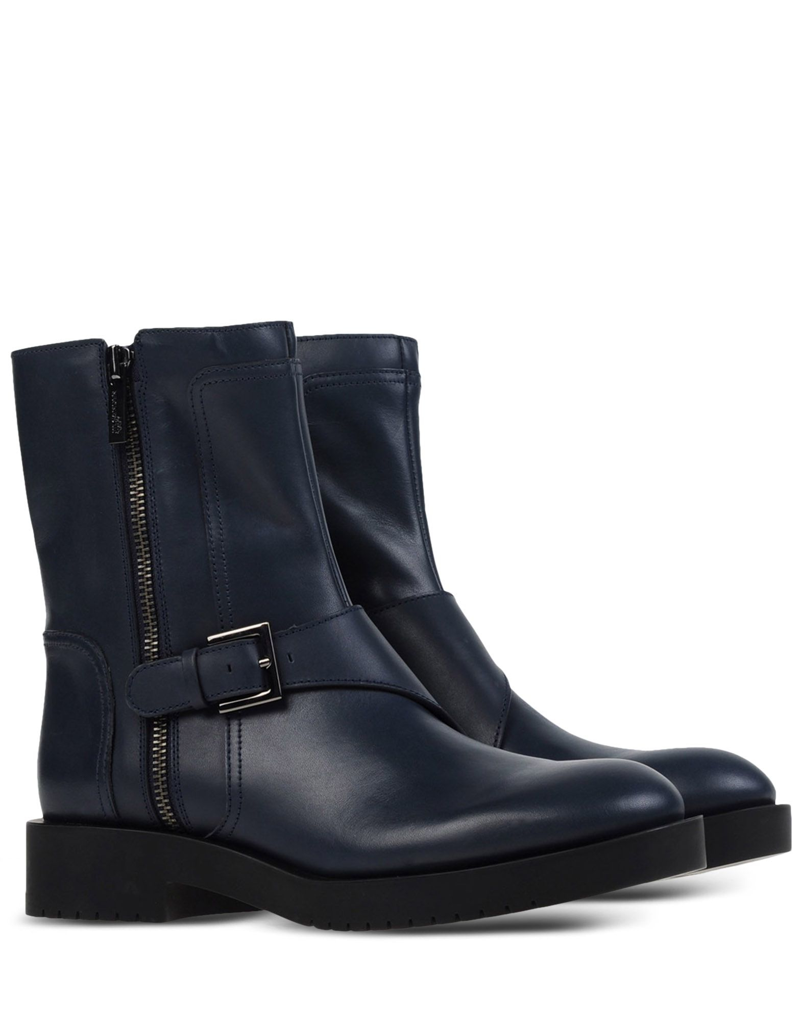 jil sander navy buckled leather ankle boots in blue