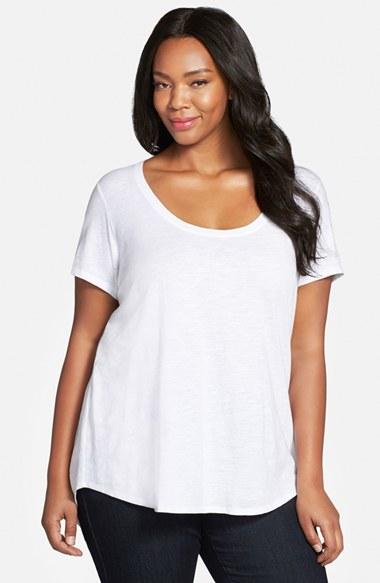 Eileen fisher slub organic cotton jersey tee in white lyst for Eileen fisher organic cotton t shirt
