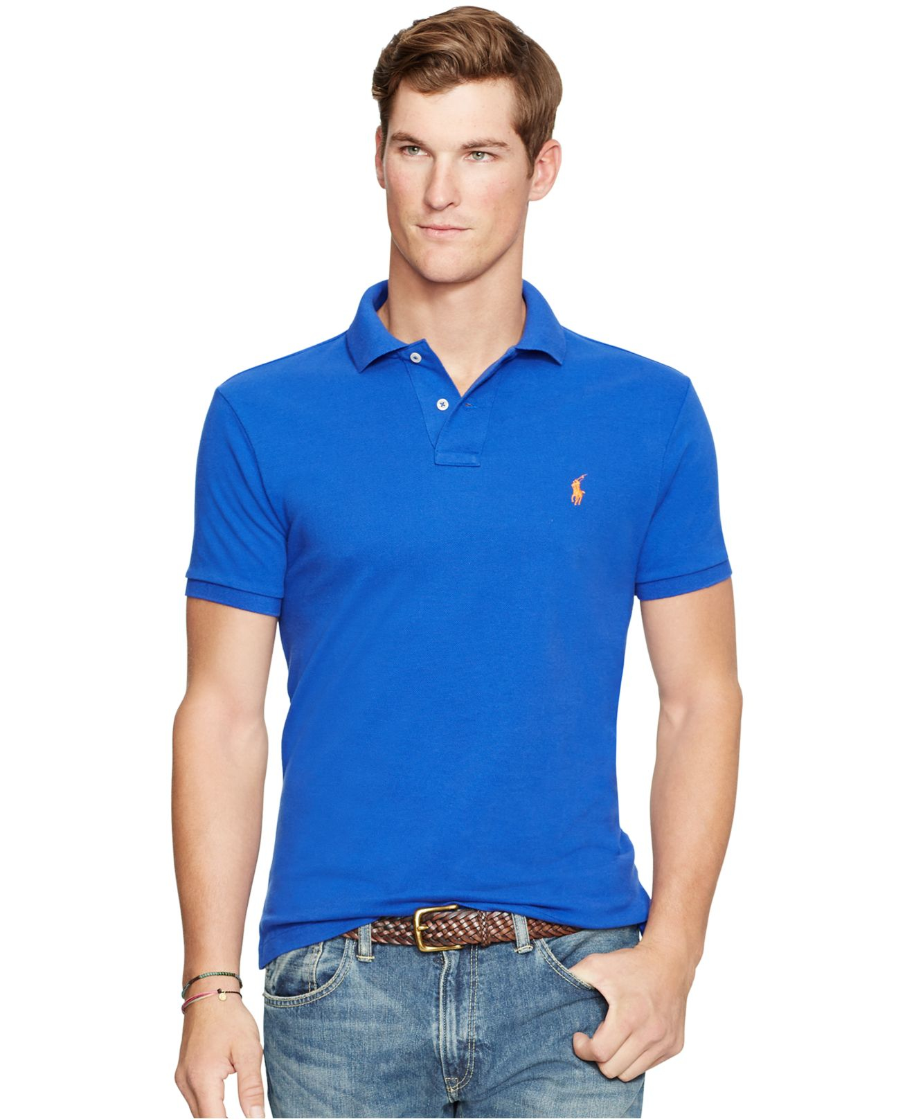 Lyst polo ralph lauren men 39 s custom fit mesh polo shirt for Ralph lauren custom fit mesh polo shirt