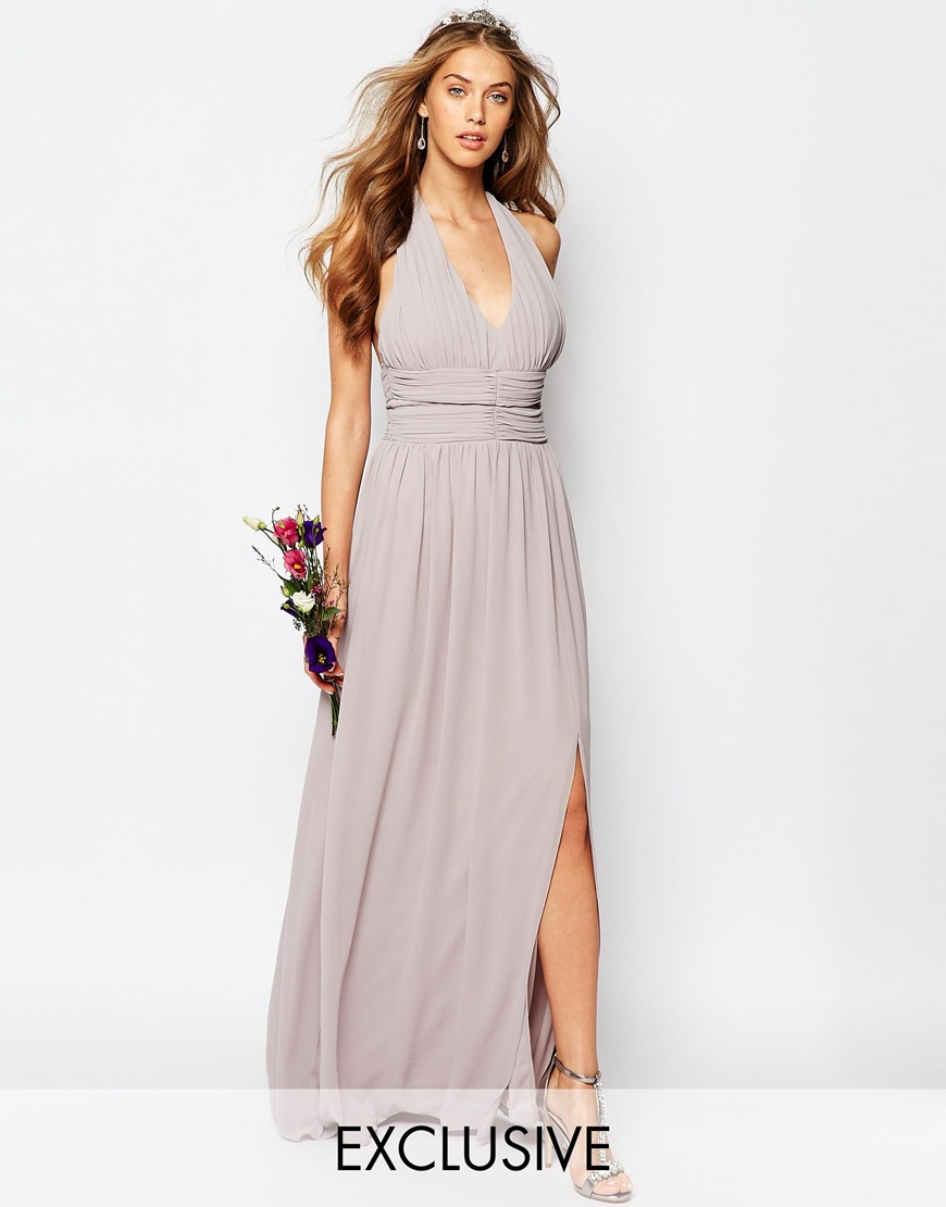Lyst tfnc london wedding halter chiffon maxi dress in gray for Maxi dress for a wedding