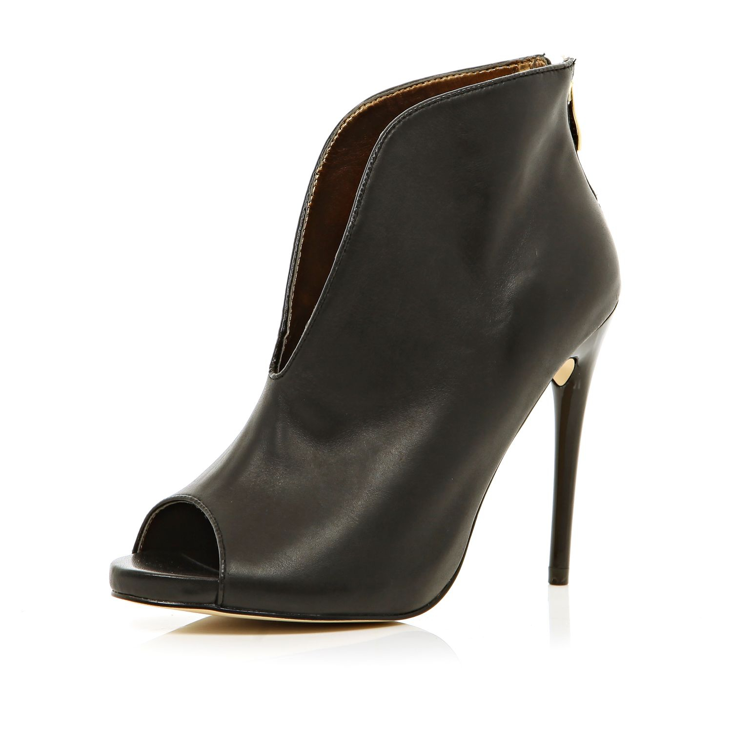 River Island Black Slit Front Stiletto Shoe Boots In Black