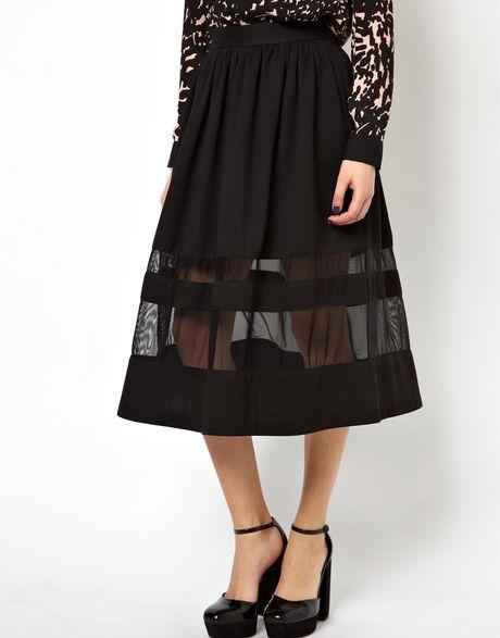 asos midi skirt in ponte with sheers panels in black lyst