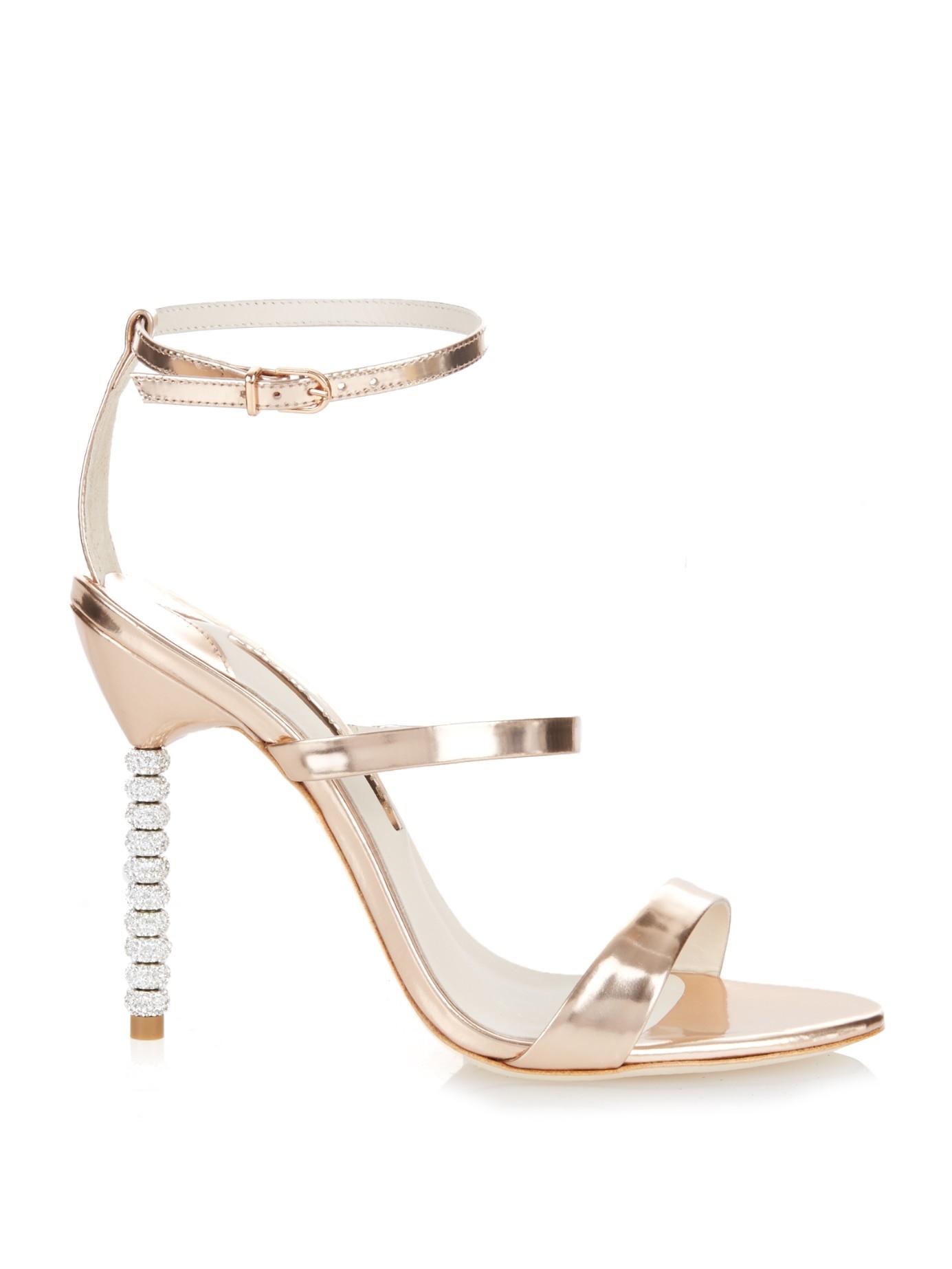 5e9a8d32fa90 Lyst - Sophia Webster Rosalind Crystal-Heel Metallic Leather Sandals ...