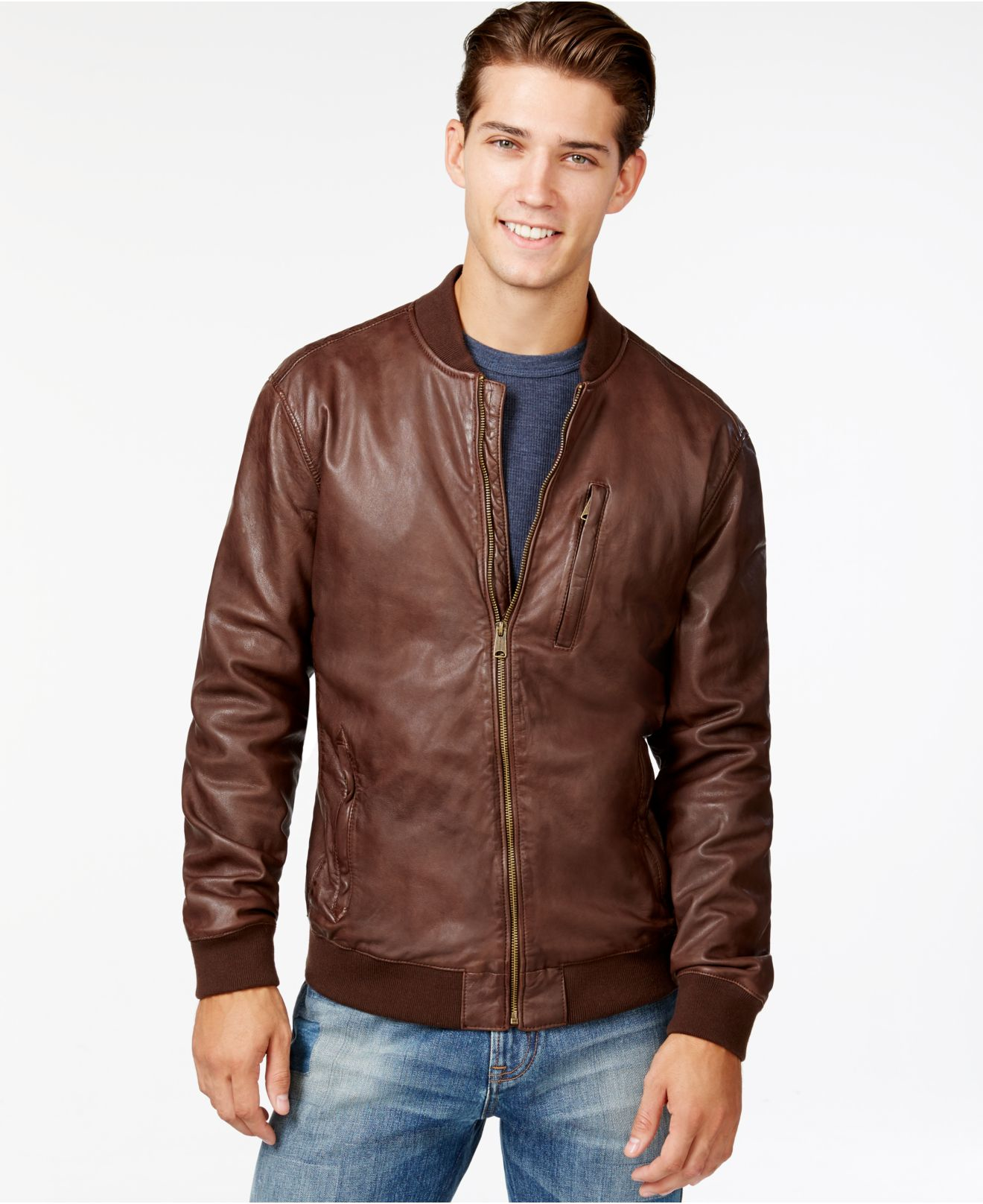 Lucky brand Leather Bomber Jacket in Brown for Men | Lyst