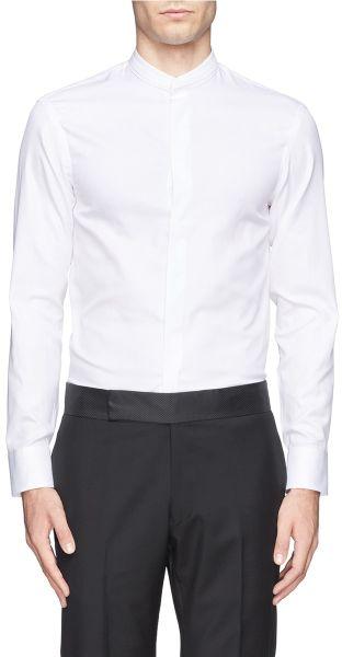 Armani Pleat Mandarin Collar Tuxedo Shirt In White For Men
