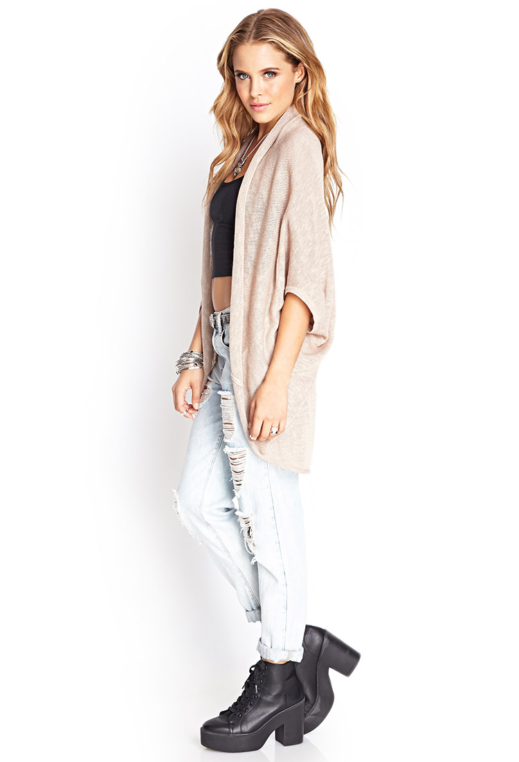 Forever 21 Drapey Batwing Cardigan in Natural | Lyst