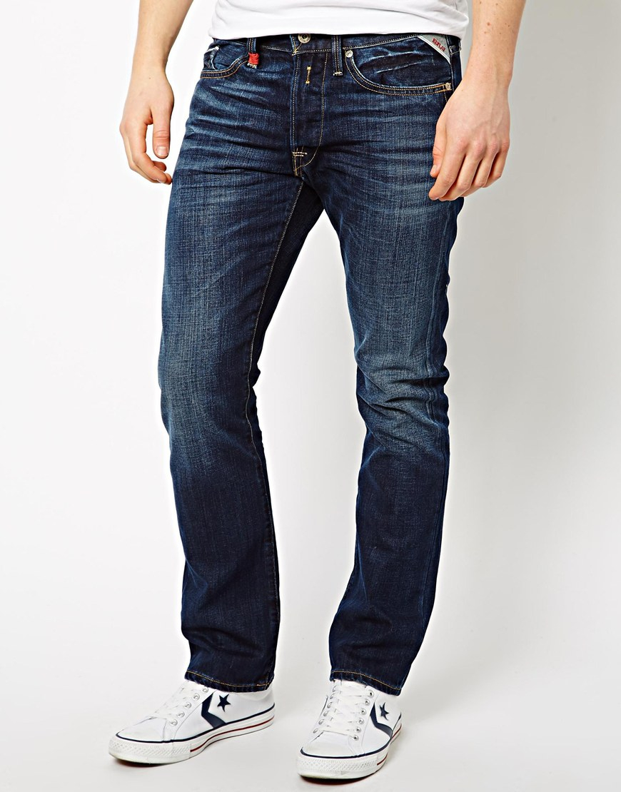 Lyst - Replay Jeans Waitom Straight Fit Dark Wash in Blue ...