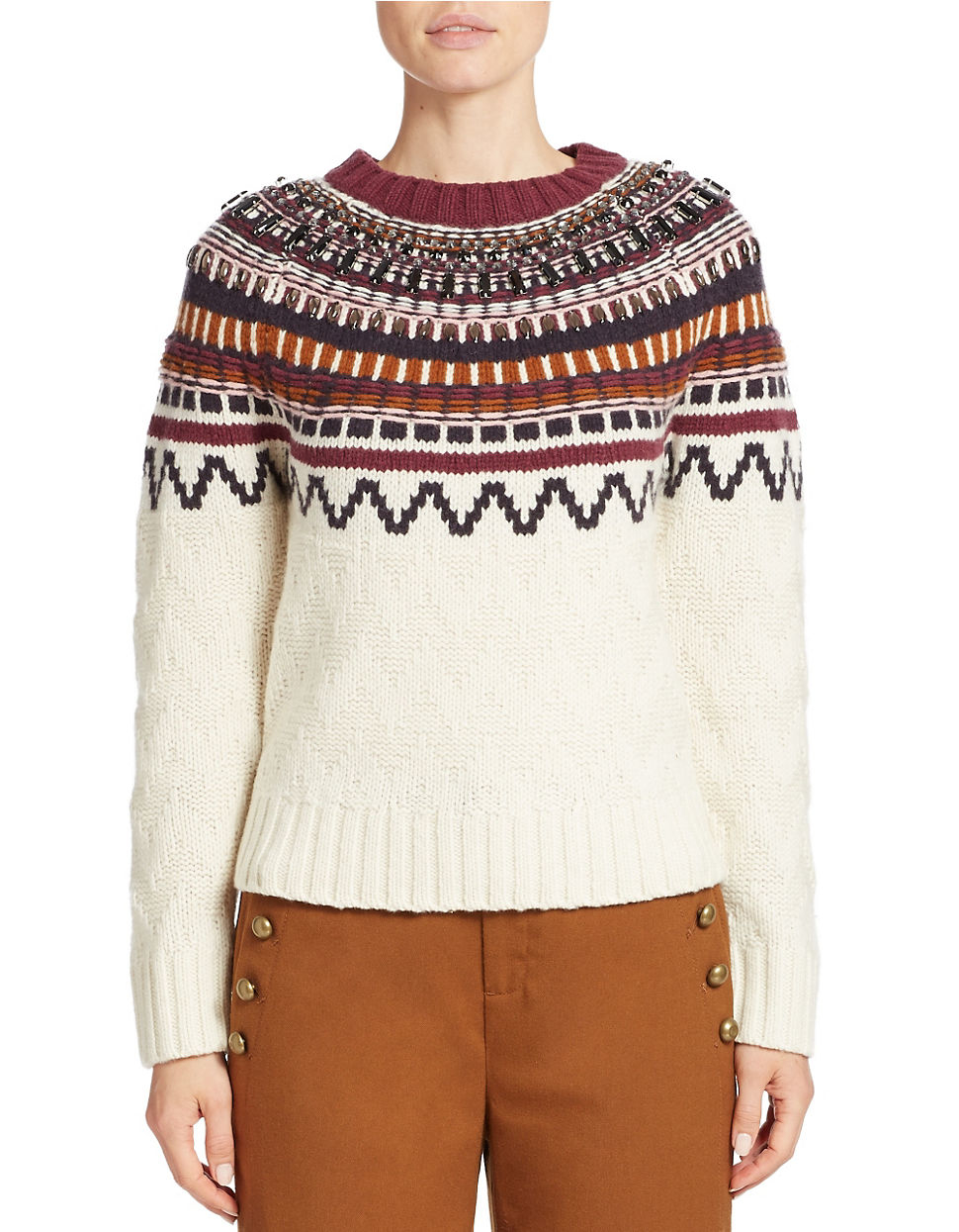 424 fifth Fair Isle Raglan-sleeve Sweater in Brown | Lyst