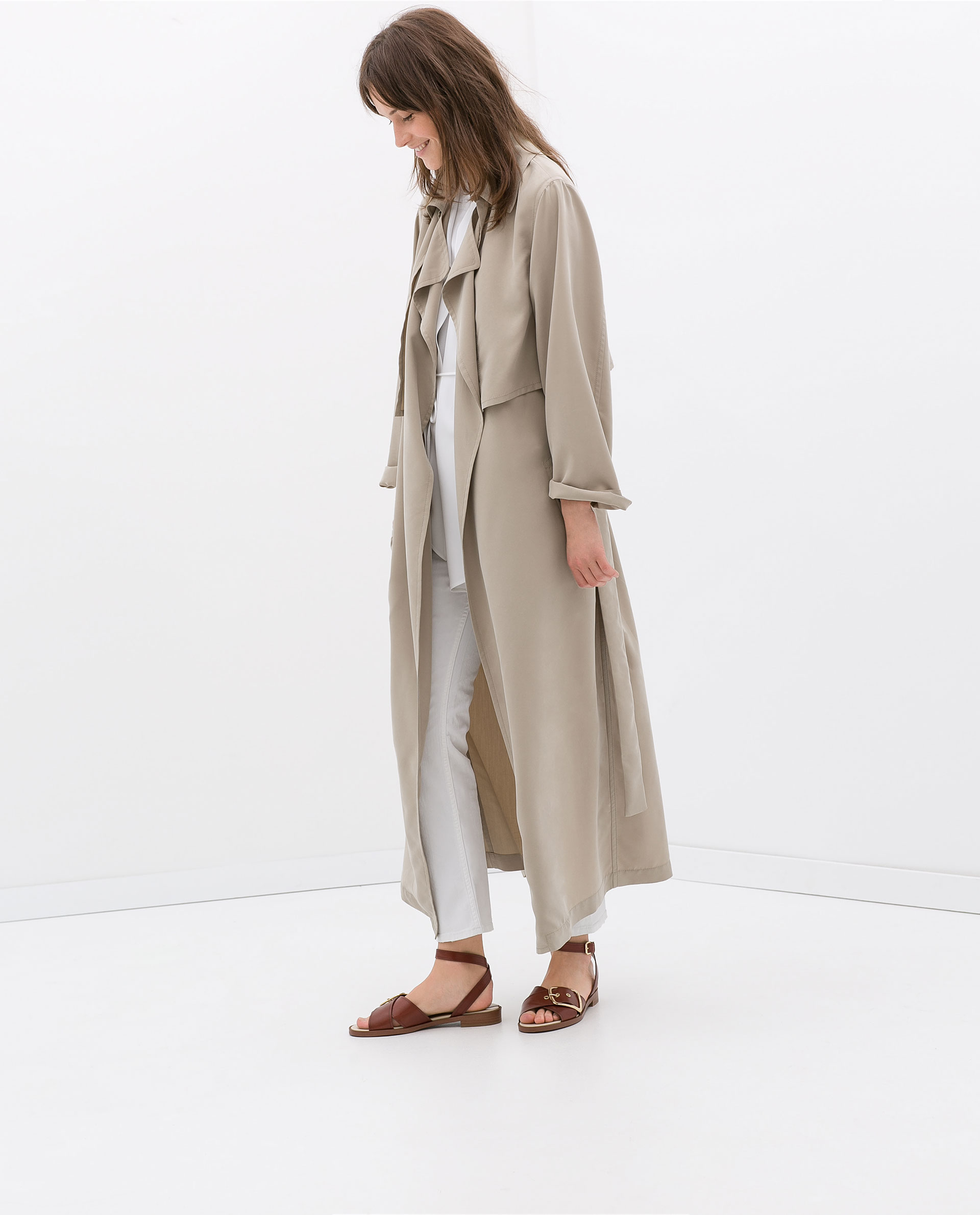 Zara Studio Long Flowy Trenchcoat In Gray Lyst