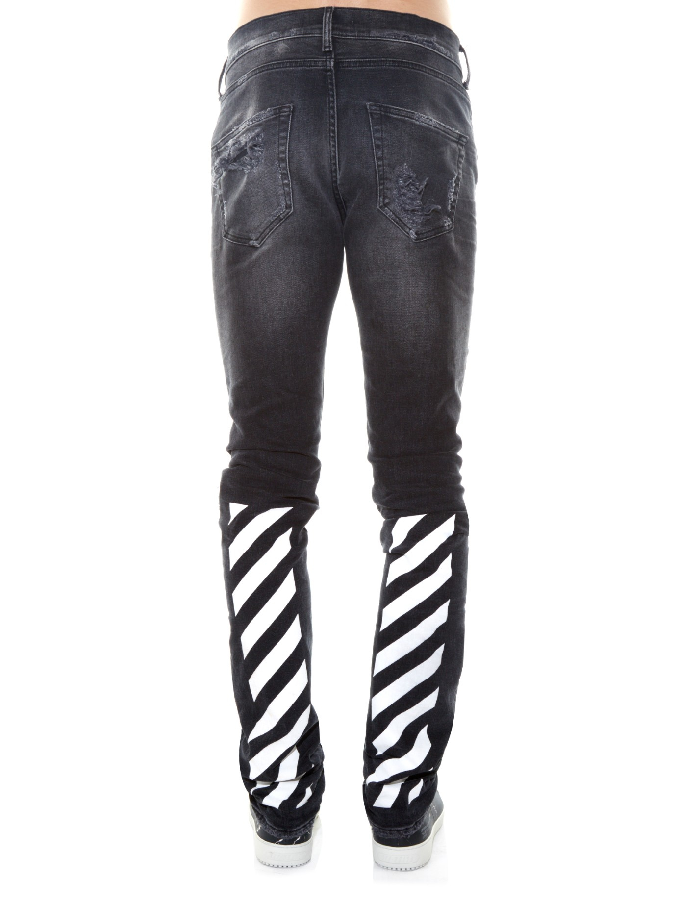 Off-white c/o virgil abloh Distressed Slim-leg Jeans in Black for ...