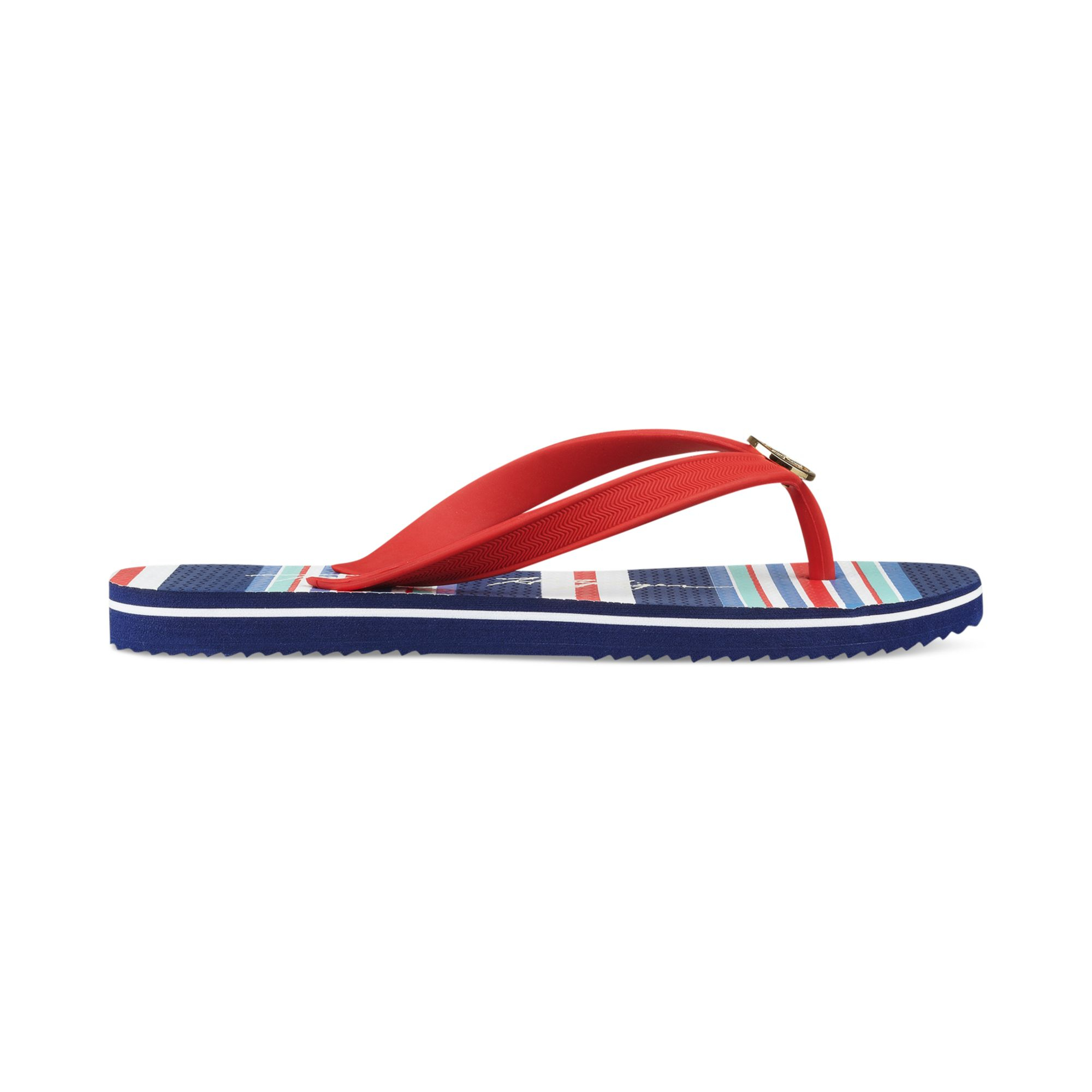tommy hilfiger womens rosewood flip flops in blue red lyst. Black Bedroom Furniture Sets. Home Design Ideas