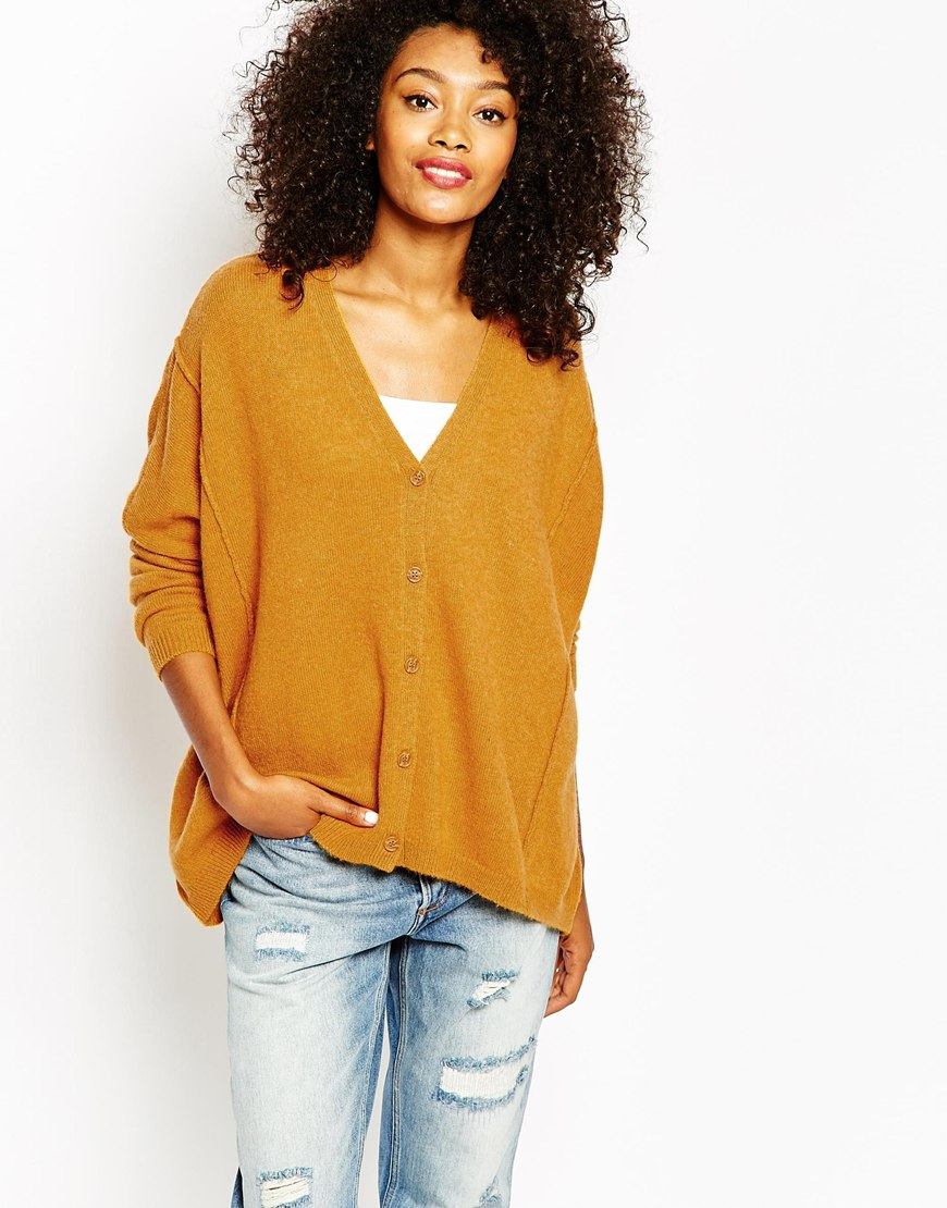 Monki Knitted Cardigan in Natural | Lyst