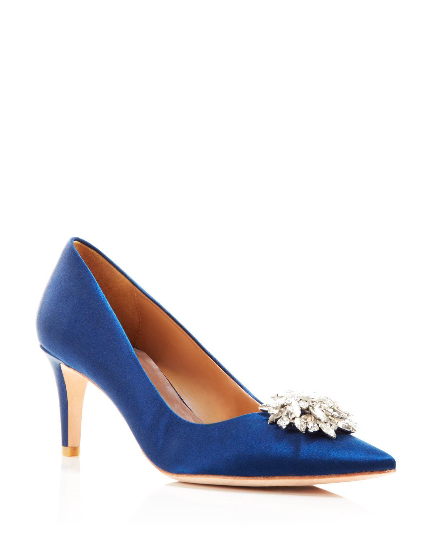 Badgley mischka Pointed Toe Evening Pumps - Gardenia Mid Heel in ...