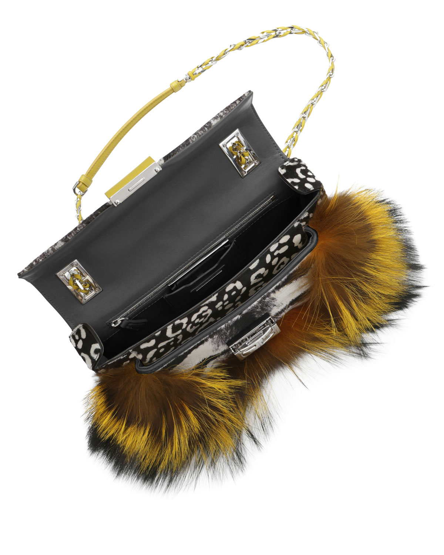 44aaf3915831 Lyst - Fendi Be Baguette Fur Leopardprint Calf Hair Bag in Yellow