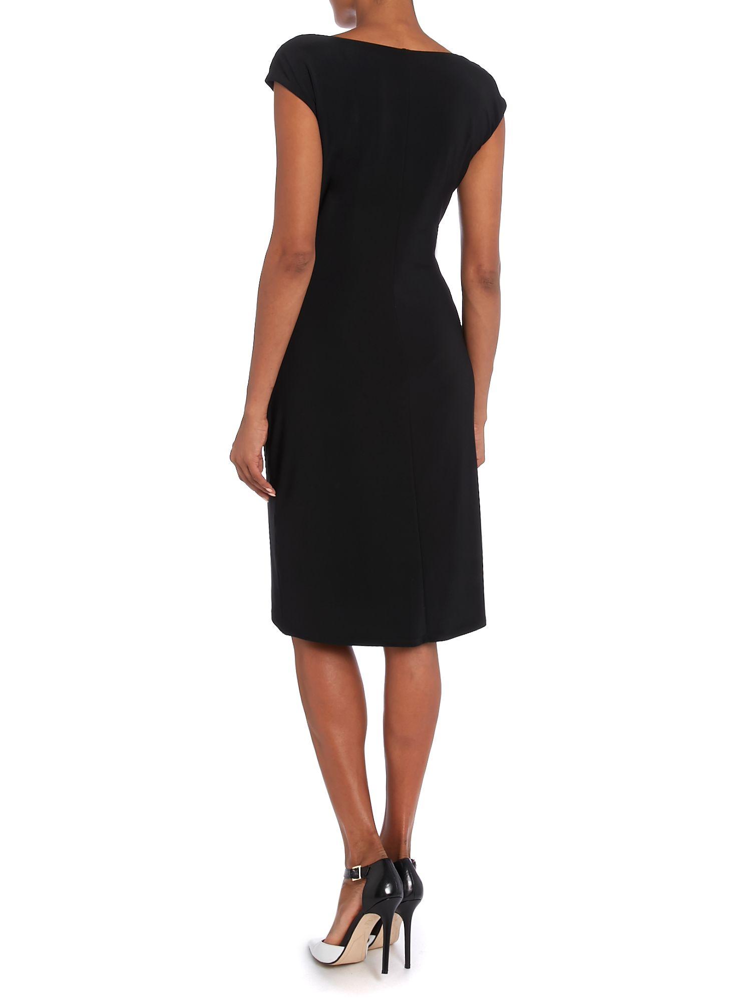 lauren by ralph lauren valli cap sleeved dress in black lyst. Black Bedroom Furniture Sets. Home Design Ideas