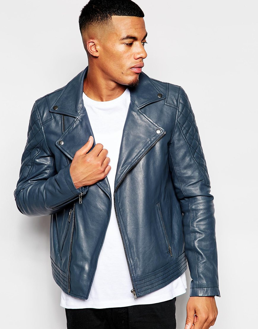 Asos Leather Biker Jacket In Navy in Blue for Men | Lyst