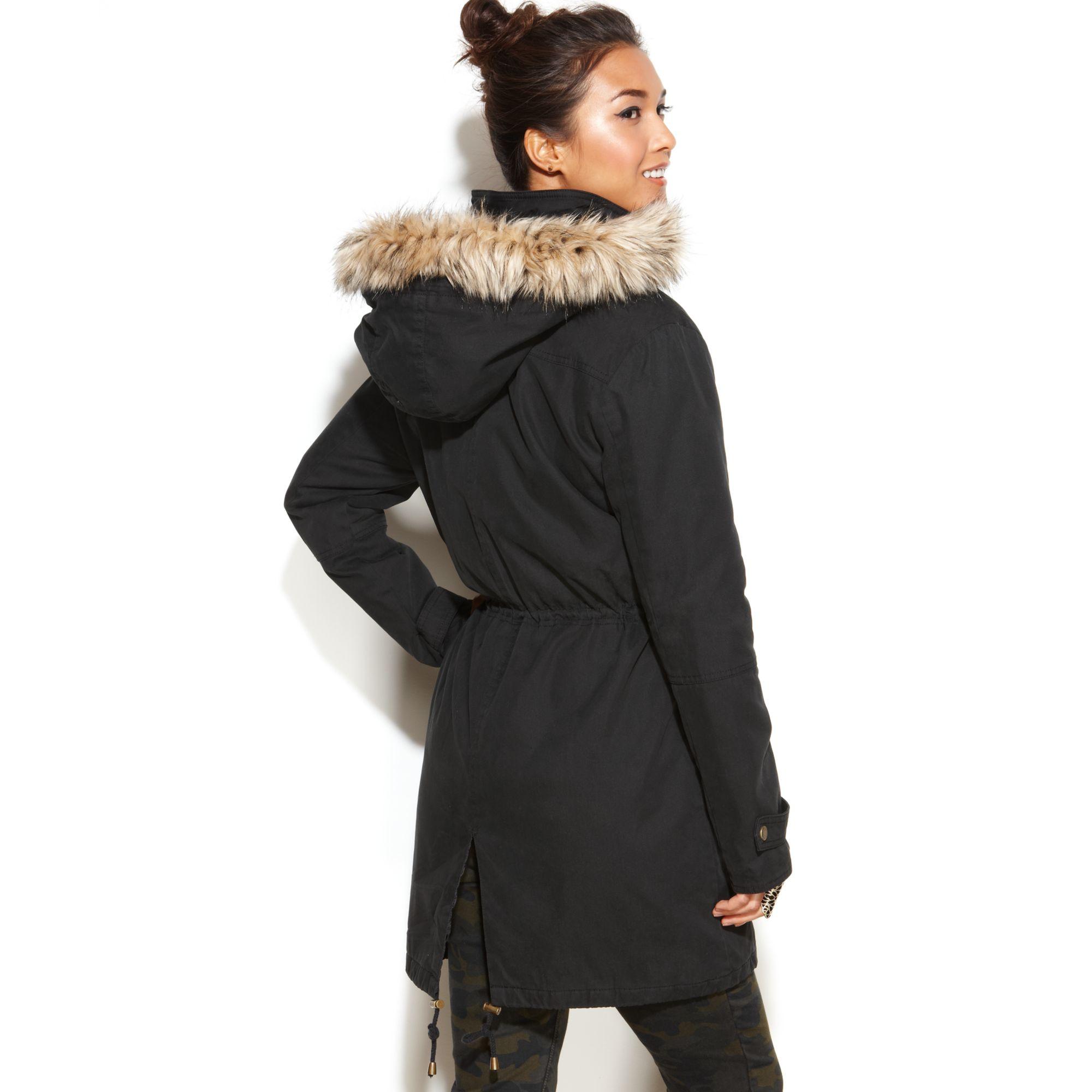 Lyst Rachel Rachel Roy Coat Hooded Faux Fur Trim Anorak