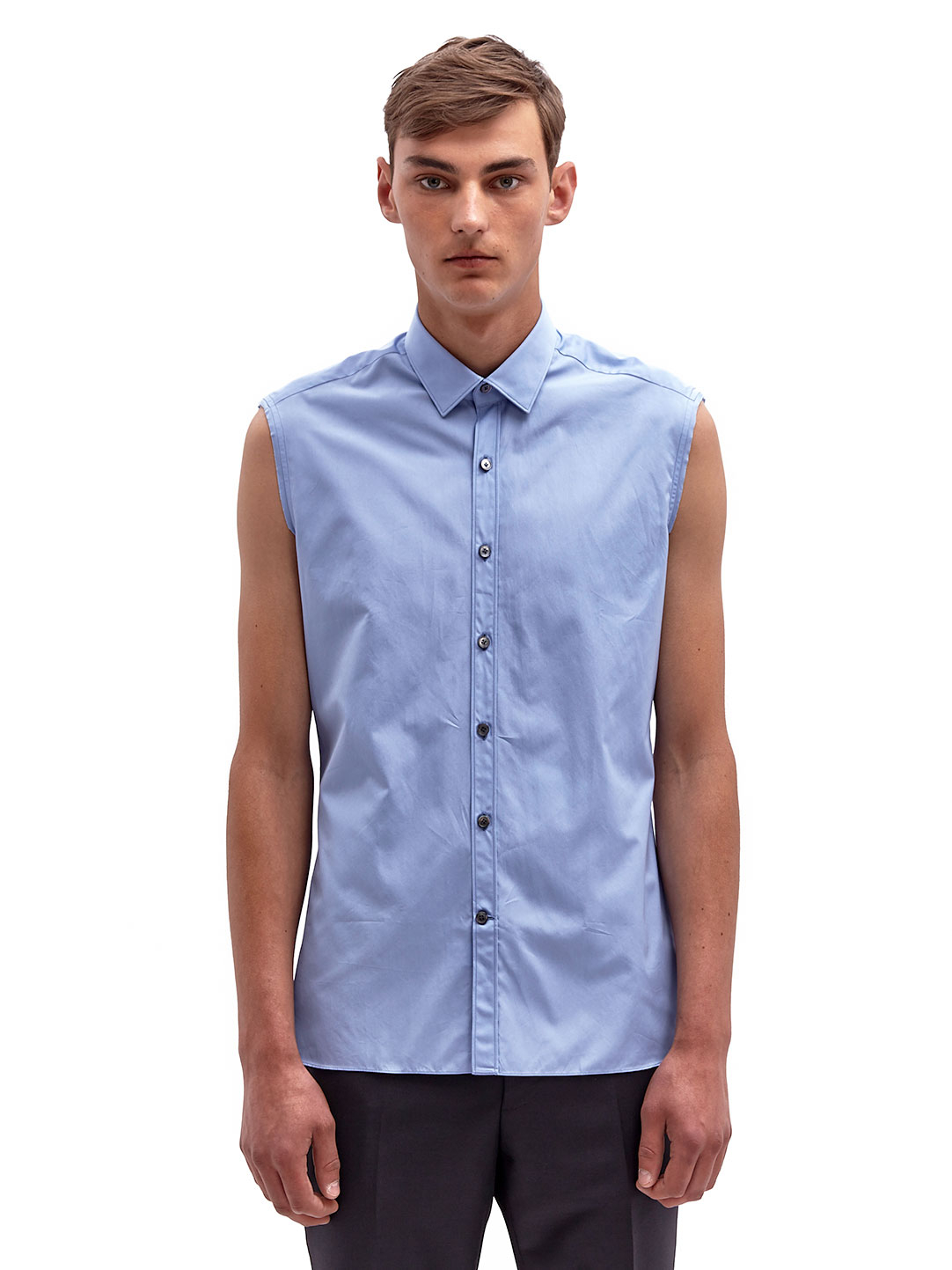 14589e61 Lanvin Mens Sleeveless Shirt in Blue for Men - Lyst
