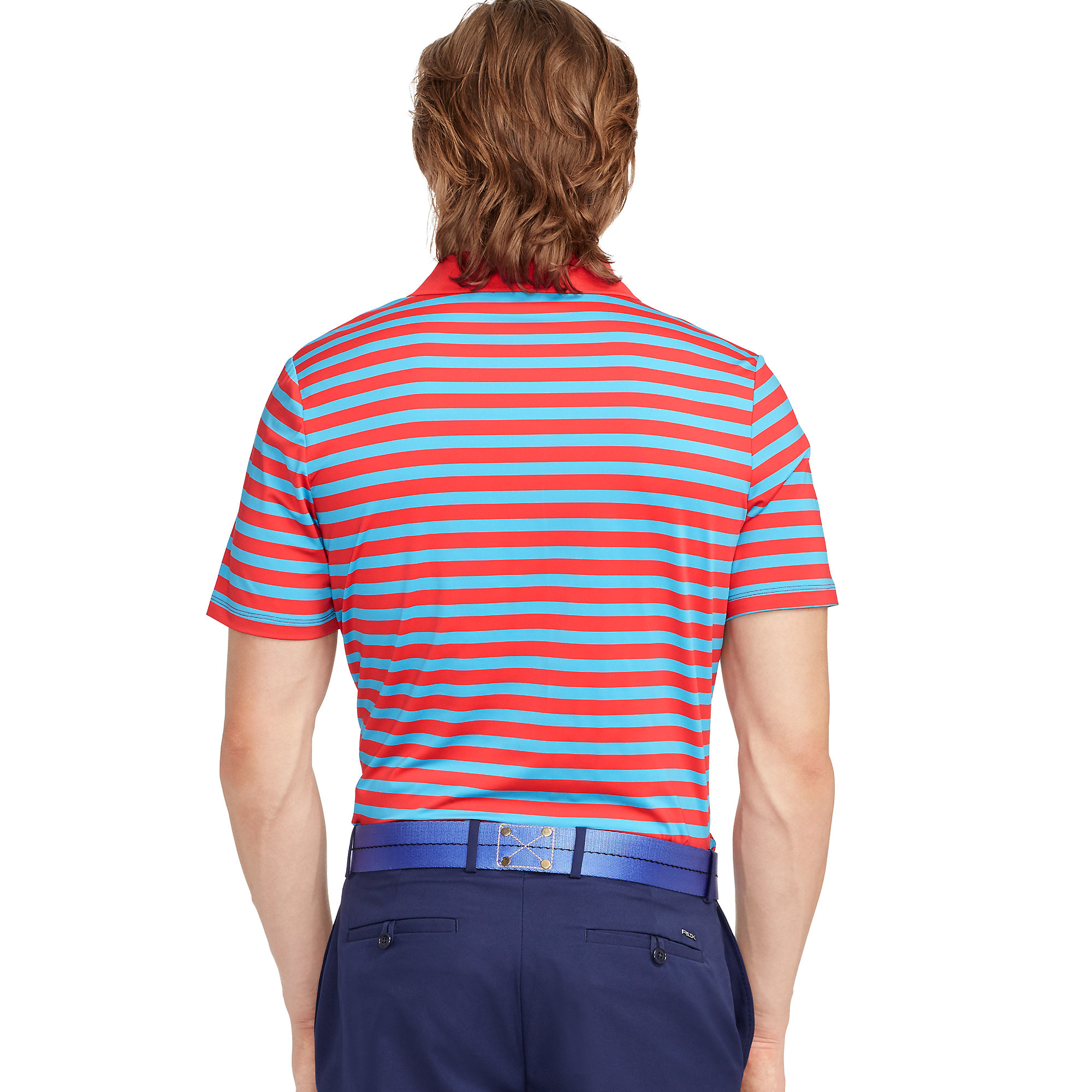Ralph lauren striped polo shirt in red for men lyst for Red white striped polo shirt
