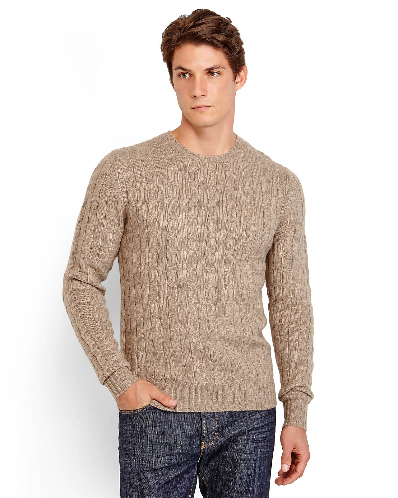 Goyo Cashmere Cable Knit Sweater in Brown for Men | Lyst