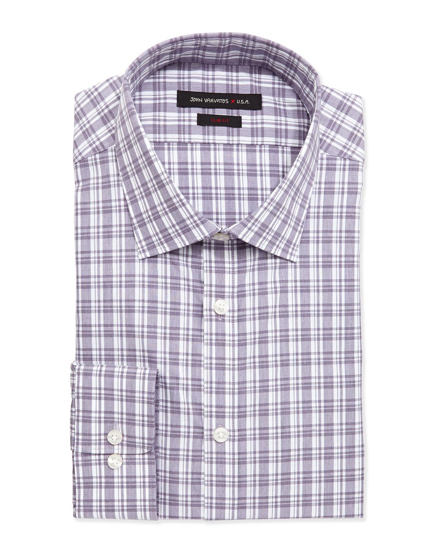 John Varvatos Slim Fit Check Poplin Dress Shirt In Purple