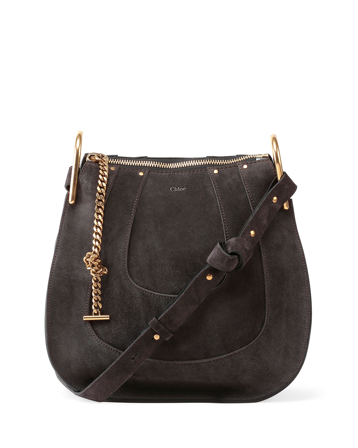 Chloé Hayley Small Suede Hobo Bag in Gray | Lyst