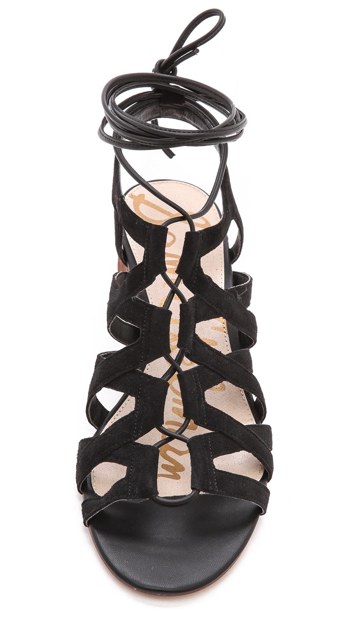 a96af0271e27 Lyst - Sam Edelman Ardella Low Heel Sandals Putty in Black