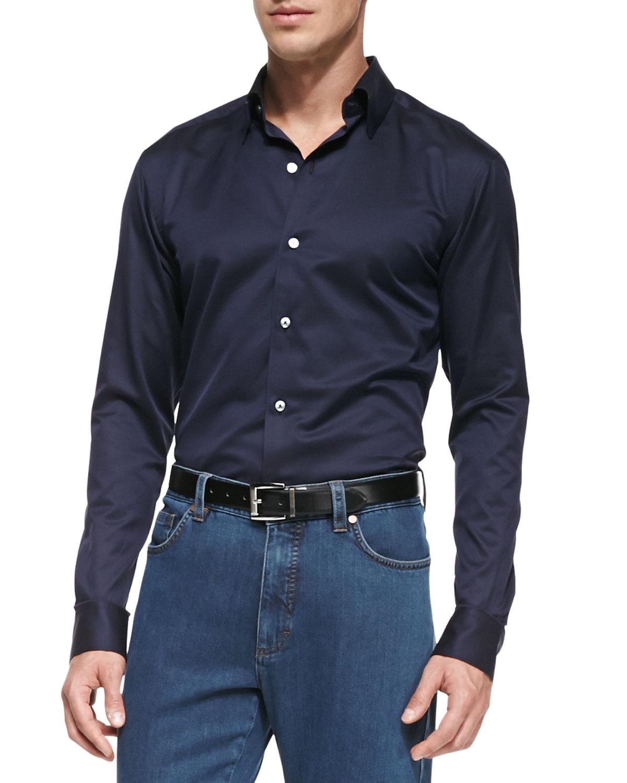 Ermenegildo Zegna Solid Woven Button Down Shirt In Blue