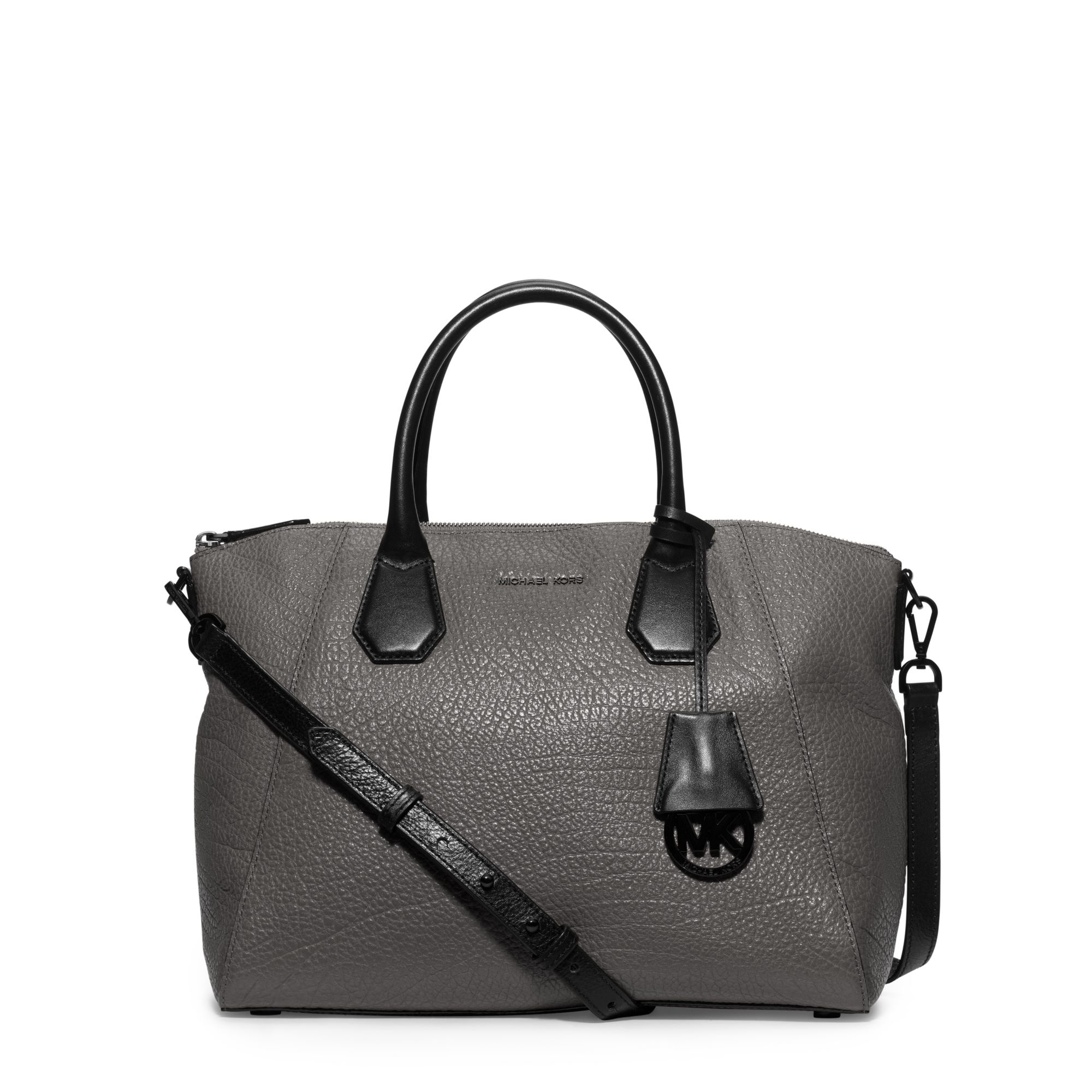 6c83388a04d7 Lyst - Michael Kors Campbell Large Leather Satchel in Gray
