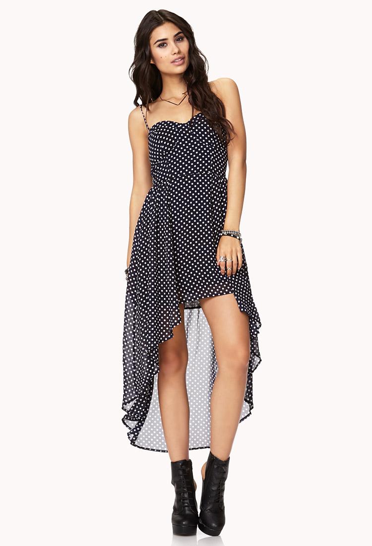 lyst forever 21 polka dot highlow dress in blue