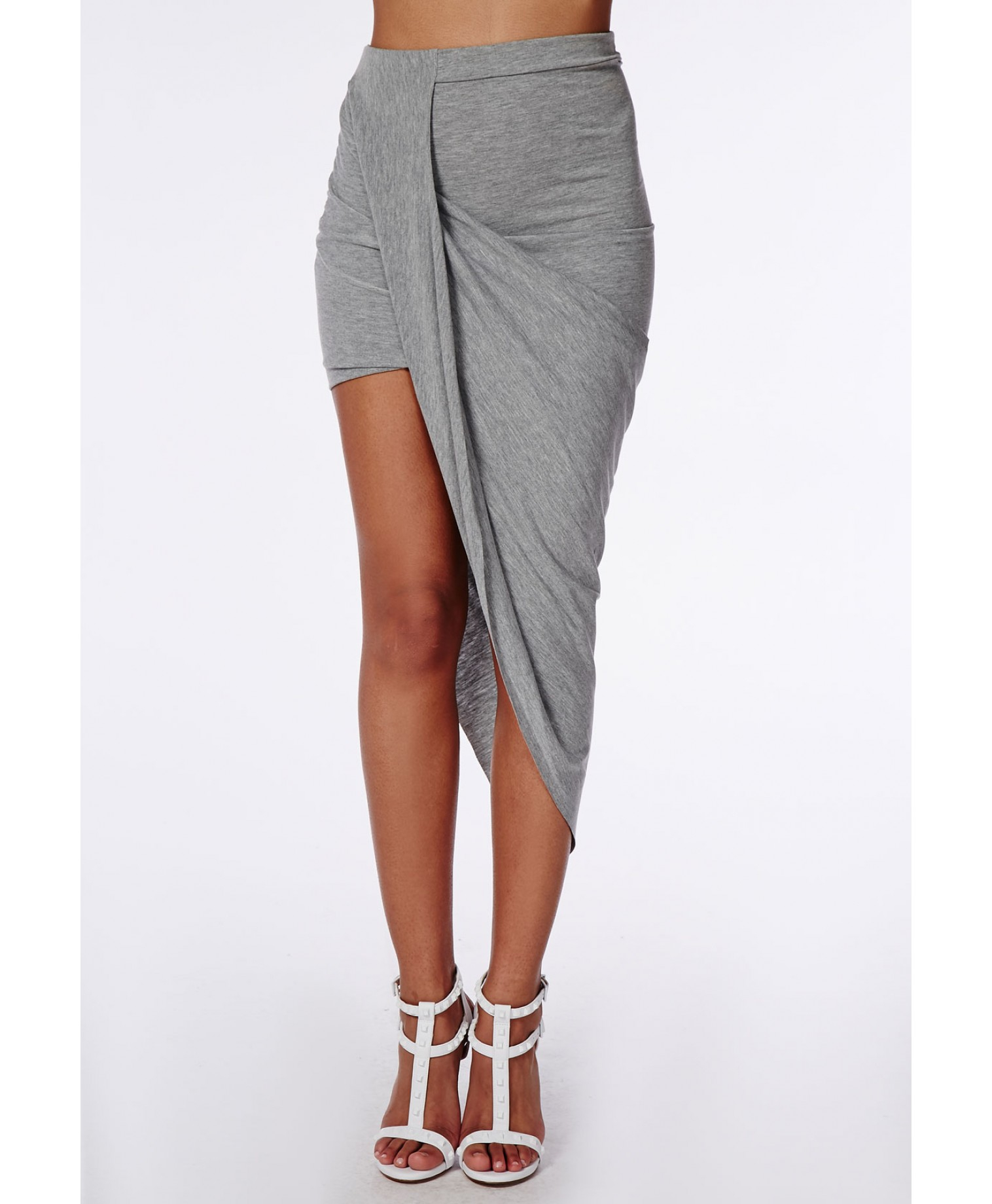 Missguided Draped Asymmetric Jersey Midi Skirt Grey Marl in Gray ...