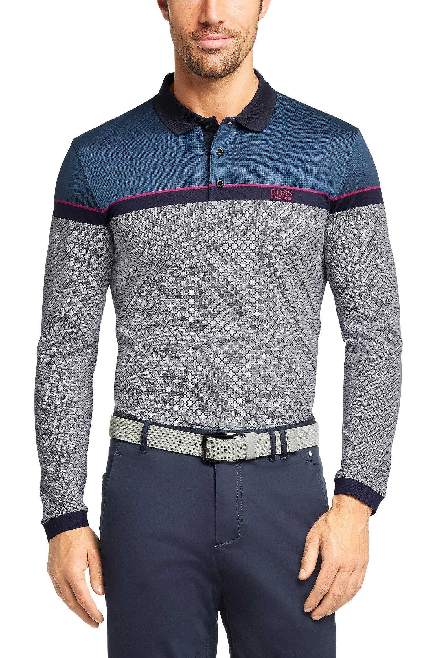 1ca75c6f BOSS Green Regular-Fit Long-Sleeve Polo Shirt 'Plisy 1' In Cotton in ...