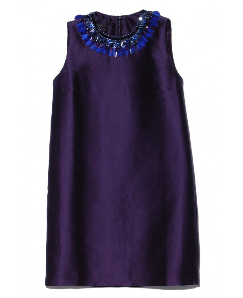 of pearl navy beaded neckline dress in blue navy