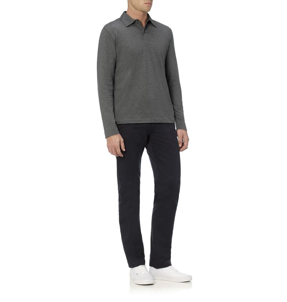 89060fd7 Sunspel Long Sleeve Jersey Polo Shirt in Gray for Men - Lyst
